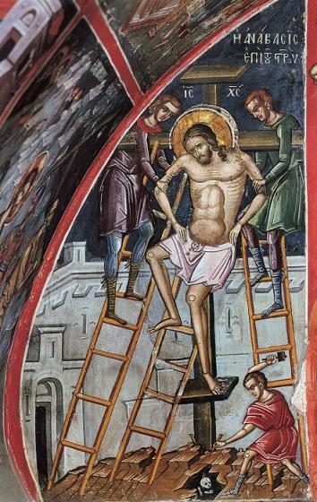 Великая Пятница. Пригвождение ко Кресту. Фреска монастыря Дионисиат, Афон