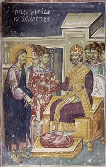Великая Пятница. Христос перед Иродом. Фреска Старо-Нагорично, Македония. XII-XIV век