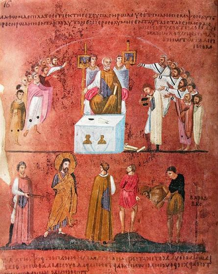 Великая Пятница. Иудеи требуют смерти Христу Да будет распят!. VI в. Миниатюра Евангелия из Россано. Музей в Россано, Италия