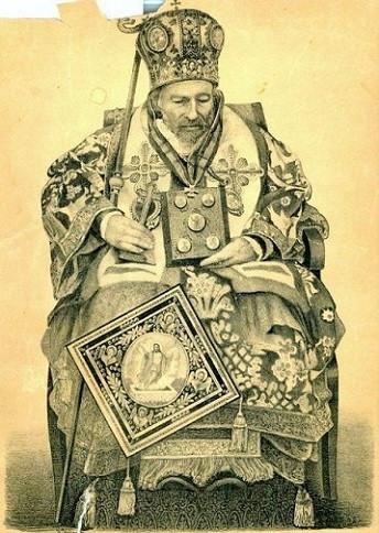 Мощи свт. Каллиника Черникского. Посмертная литография 1868 г.