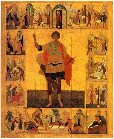 Икона великомученика Георгия Победоносца, XVI век - Третьяковская галерея