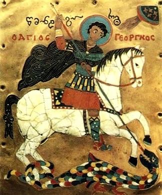 Святой Георгий Победоносец, грузинская икона 15-го века