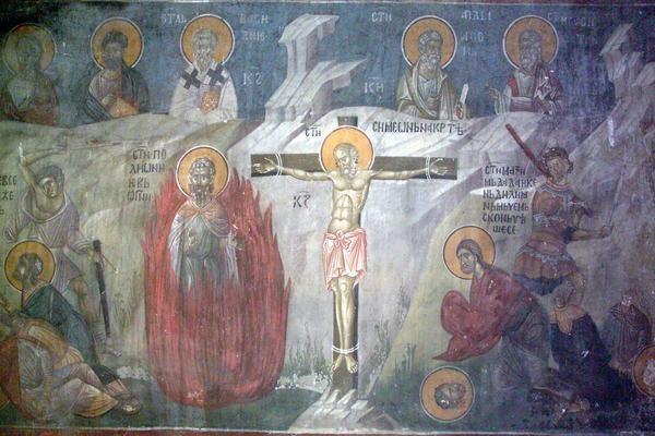 Максим, Квинтилиан, Дада Доростольские, мч. Южная стена южного рукава, Сербия, Косово, Грачаница