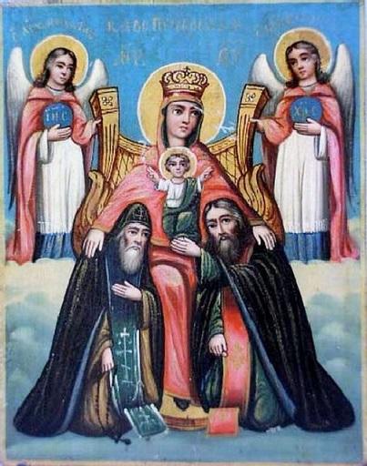 ПЕЧЕРСКАЯ ИКОНА БОЖИЕЙ МАТЕРИ С ПРЕДСТОЯЩИМИ ПРЕПОДОБНЫМИ АНТОНИЕМ И ФЕОДОСИЕМ ПЕЧЕРСКИМИ(1085)