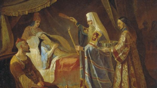 КАПКОВ Яков — Исцеление Митрополитом Алексеем Тайдулы, жены Чанибека, Хана Золотой Орды