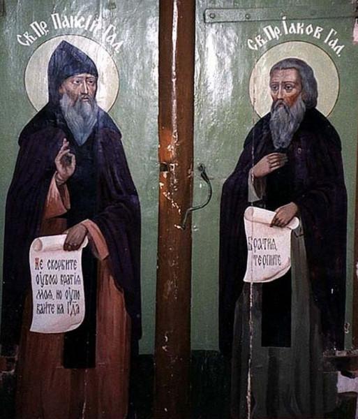 Преподобные Паисий и Иаков Галичские, XVII век, северные врата Успенского собора Паисиево-Галичского монастыря