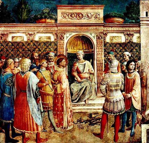 Юний Рустик председательствует на суде над Иустином Философом. Фра Анджелико, 1447—1450