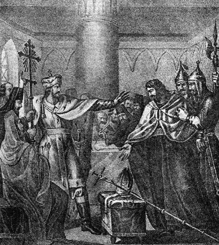 Василий Васильевич отвергает соединение с Католической церковью, принятое митрополитом Исидором на Флорентийском соборе. 1440 г. Гравюра Б. А. Чорикова
