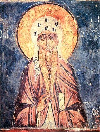 Прп. Акакий Синайский. Фреска XV в., Новгород, храм Симеона Богоприимца
