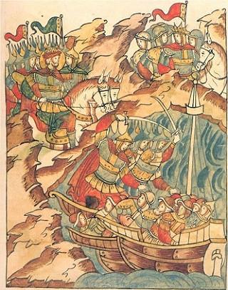 Невская битва Лицевой летописный свод (том 6 стр. 28) 1