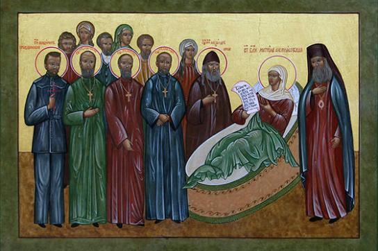 блаженная матрона Анемнясевская и Касимовские святые (икона храма в Бутырской тюрьме)