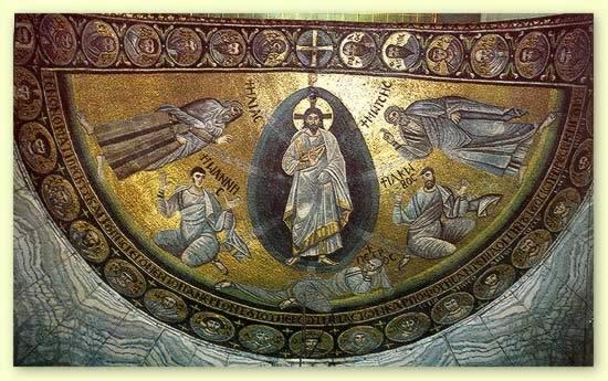 Преображение Господне. Мозаика церкви монастыря cв.Екатерины на горе Синай. Ок. 565–566 гг.