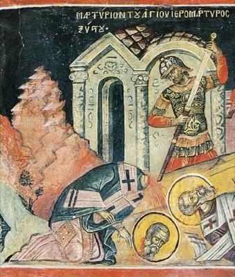 Мученики архидиакон Лаврентий, Папа Сикст, диаконы Феликиссим и Агапит, воин Роман, Римские