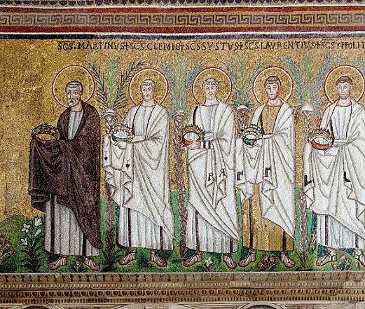 Шествие мучеников. Сикст II Римский, архидиакон Лаврентий, Ипполит Римский, Корнелий, Киприан, Кассиан. Италия, Равенна, VI век, южная стена