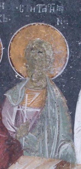 Минологий-Август (мч. Татион). Фреска церкви Благовещения. Грачаница. Косово. Сербия. Около 1318 г