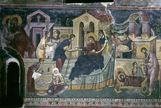 Рождество Пресвятой Богородицы. Фреска церкви св.Иоакима и Анны в монастыре Студеница. 1304 г. Сербия