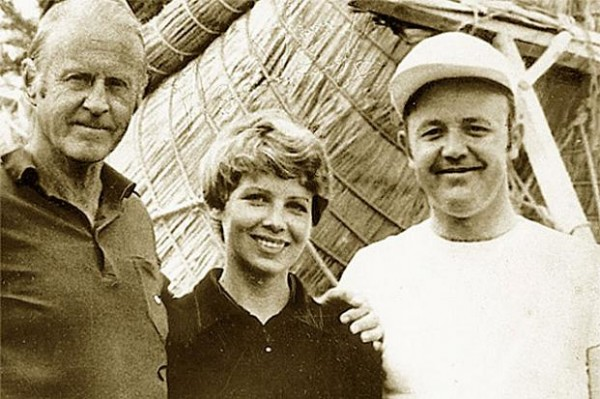 Юрий Сенкевич с женой Ксенией и Туром Хейердалом