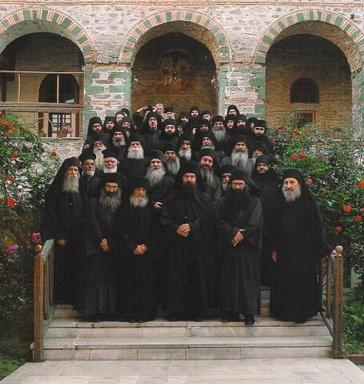 Монахи монастыря Филофей, Афон