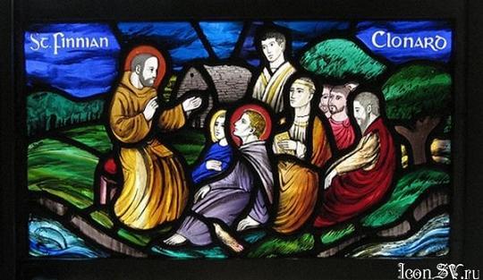Преподобный Финиан, игумен Клонардский проповедует монахам в Clonard
