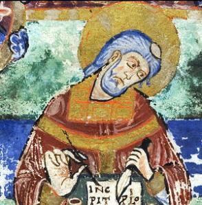Портрет Венанция Фортуната. Фрагмент миниатюры из манускрипта Vie de Sainte Radegonde par Venance Fortunat