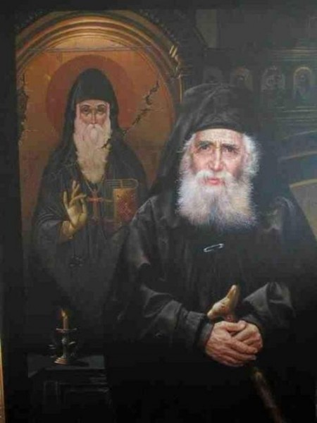 Портрет Паисия Святогорца на фоне иконы прп. Арсения Каппадокийского