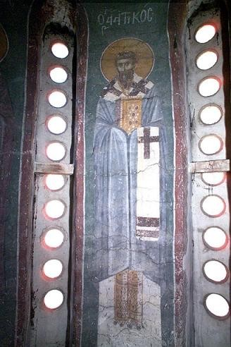 Свт. Аттик. Фреска церкви Благовещения. Грачаница. Косово. Сербия. Около 1318 г.
