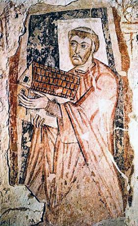 Прп. Венедикт Бископ. Фреска в монастыре Св. Петра в Уирмуте, ок. VIII в.