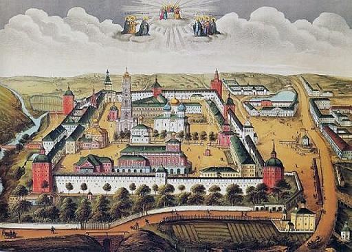 Вид Троице-Сергиевой Лавры. Гравюра И.И.Старченкова, 1877 г.
