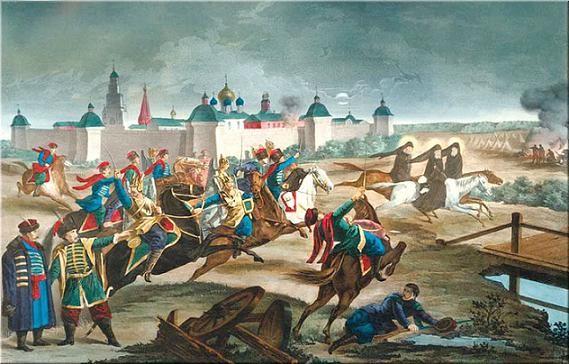 Монахи прорываются сквозь осаду и скачут к князю Михаилу Скопину-Шуйскому за помощью
