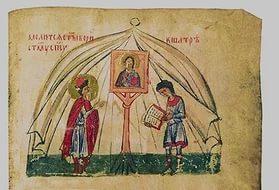 Святые кн. Борис и его отрок Георгий молятся пред иконой Спасителя