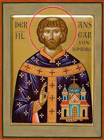 Икона святителя Ансгария кисти иконописца Александра Столярова. Из церкви во имя св. Иоанна Кронштадтского в Гамбурге
