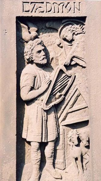 Святой Кедмон. Современный барьельф с памятника, установленного святому в Уитби