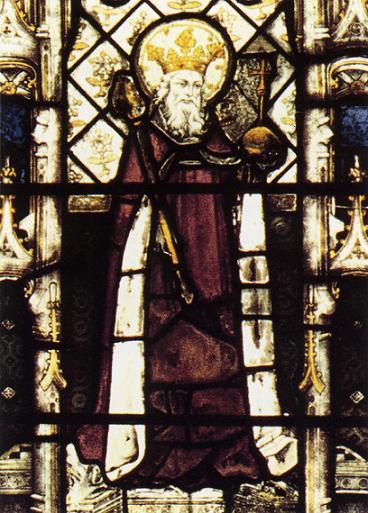 Святой Этельберт I Кентский, первый христианский король Кентский, витраж в Оксфорде