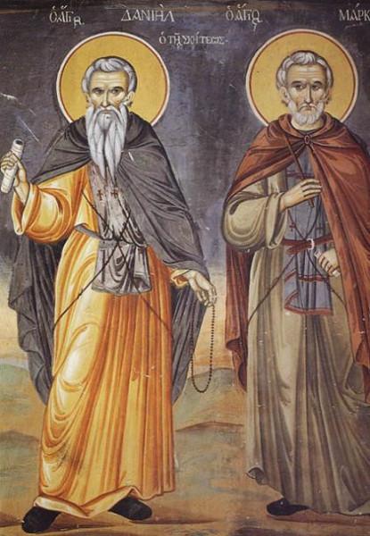 Прпп. Даниил и Марк. Фреска. Афон (Ватопед). 1802 г.