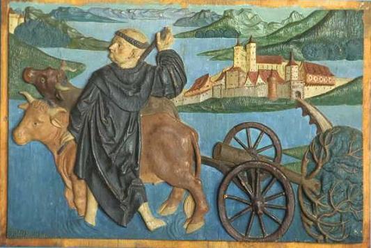Преподобный Фридолин Рейнский строит запруду