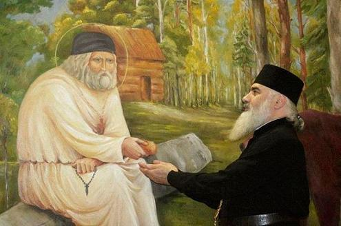 Митрополит Боржомский и Бакурианский Серафим (Джоджуа) берет благословение у фрески прп. Серафима