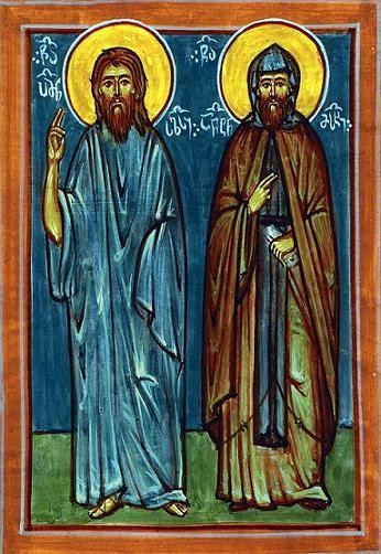 Преподобные Пимен юродивый и сподвижник его Антоний Месхи
