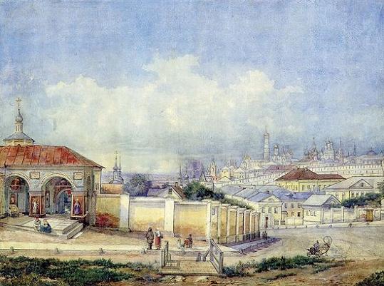 Вид Москвы от Ивановского монастыря. 1850-е годы. Акварель Д. Карташева (ГИМ ИЗО)