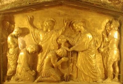 Крещение апостолами Петром и Павлом святых мучеников Прокесса и Мартиниана. Рельеф. Рим. XIX . Образ находится за престолом в Мамертинской темнице, где происходило это событие