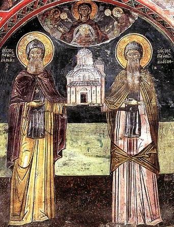 Преподобные Афанасий (слева) и Иоасаф Метеорские, игумены