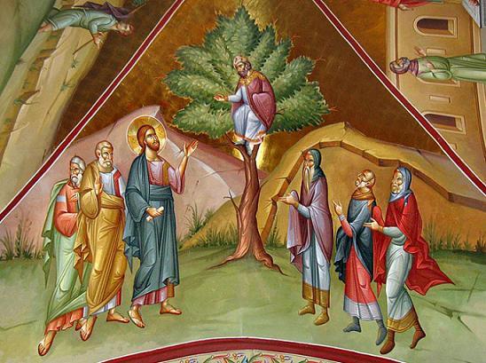 Призвание Закхея. Фреска Фаворского монастыря