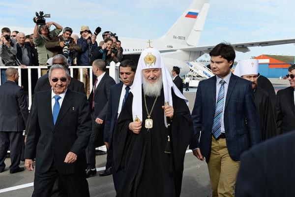 Патриарх Кирилл на Кубе, аэропорт Гаваны 12 февраля 2016 года