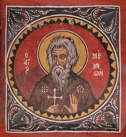 Прп. Мемнон Чудотворец, Кипрский. Фреска XIV в., храм Панагии Асину в деревне Никитари, Кипр