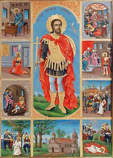 Вмч.Николай Софийский Новый с житием. Икона из софийского храма вмч. Николая Софийского