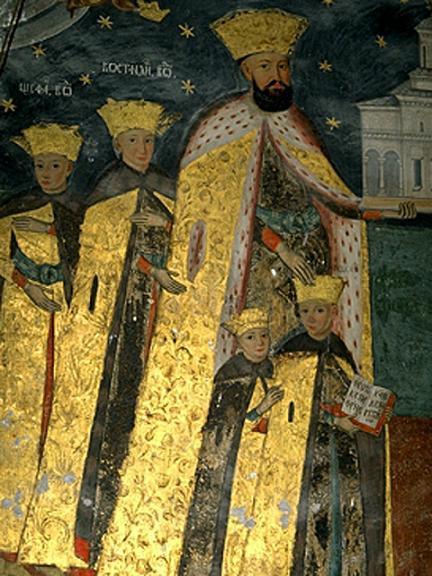 Константин Брынковяеу с сыновьями. Фреска монастыря Хурези