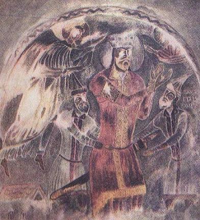 Св. царь Грузинский Димитрий I. Фреска Михаила Маглакели 1142 г., Мацхваришский монастырь