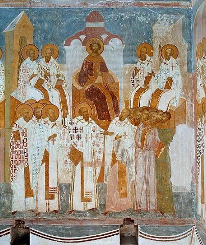 Анафематствование Нестория на III Вселенском соборе. Фреска Дионисия. 1502 г.