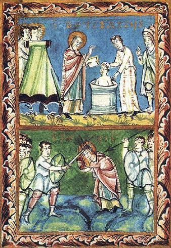 Св. Вонифатий Фульдский, крестящий (верхний) и его мученичество (ниже), из рукописи 11-ого столетия