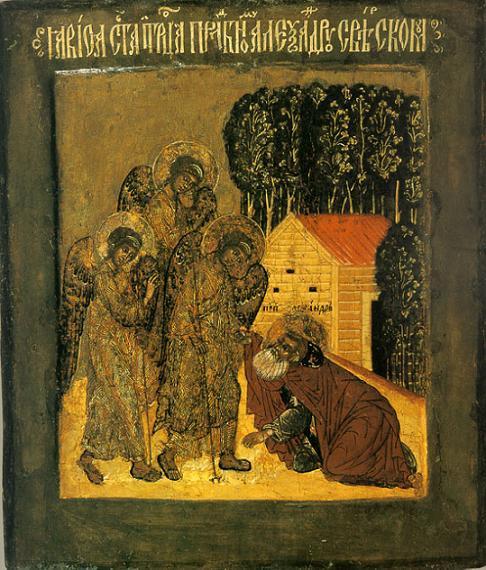 Явление Пресвятой Троицы преподобному Александру Свирскому. Середина XVII века