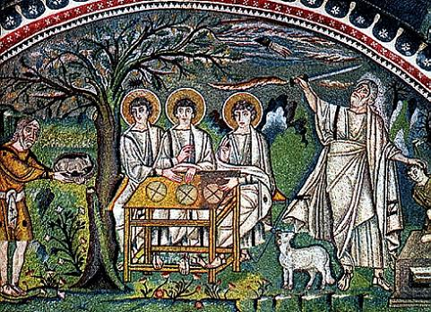 Гостеприимство Авраама. 532-547 г. Мозаика храма в Раввене, Италия